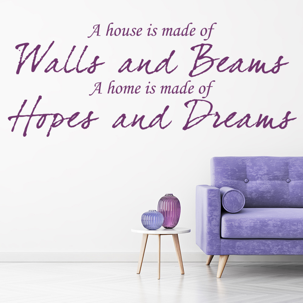 A House Is Made Of Walls And Beams Family & Friends Quotes Wall Stickers Decals