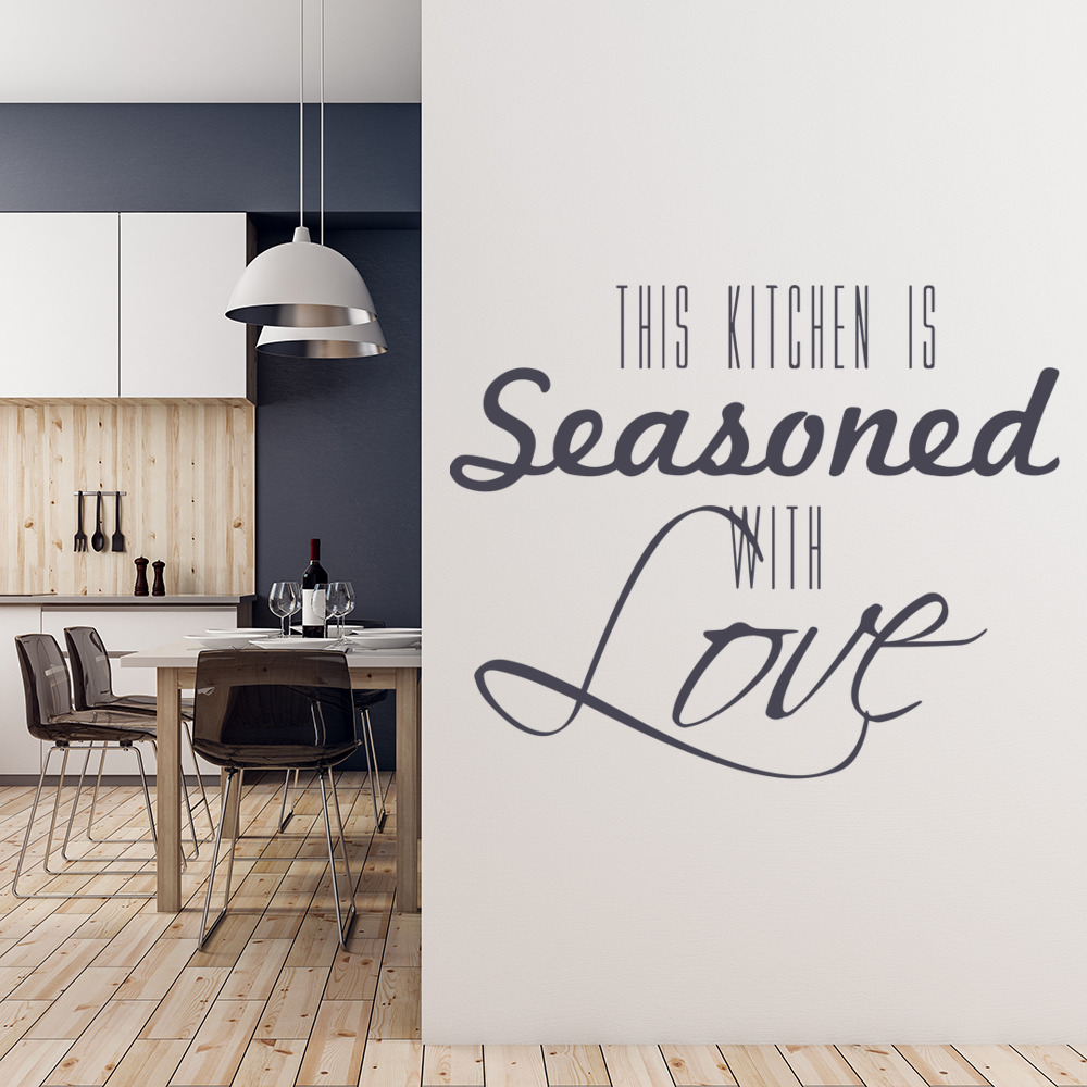 Seasoned With Love Food Quotes & Slogans Wall Stickers Kitchen Decor Art Decals