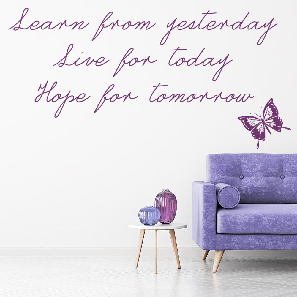Learn From Yesterday Wall Stickers Quote Wall Art