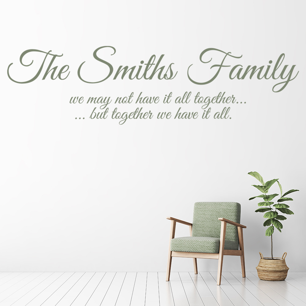 Family Name Personalised Family & Friends Quotes Wall Stickers Home Art Decal