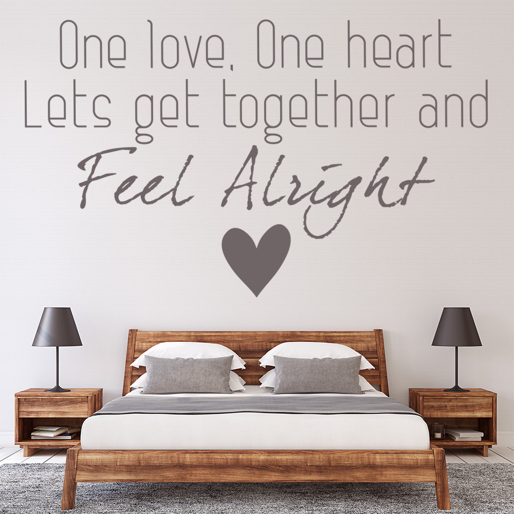 One Love Bob Marley Wall Art Lyrics Wall Sticker