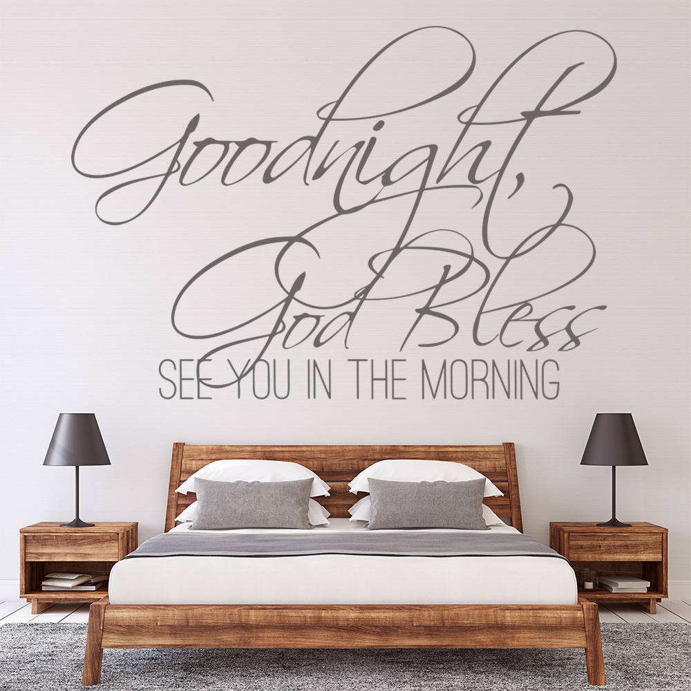 Goodnight God Bless Religious Quotes Wall Stickers Home Bedroom Decor Art Decals