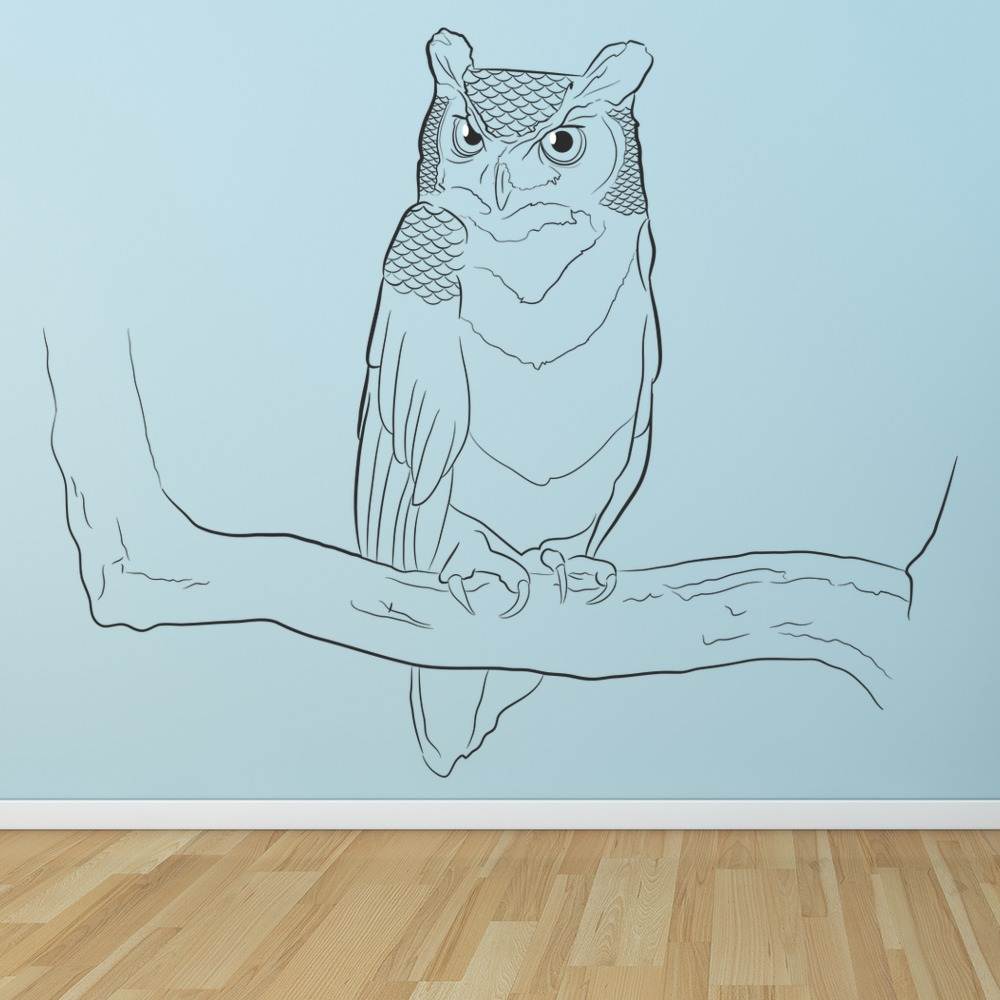 Owl On Branch Wall Art Bird Wall Sticker