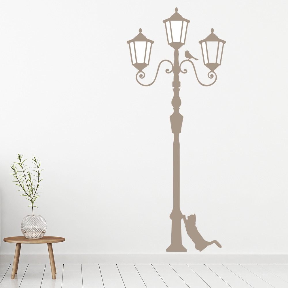Lamppost With Cat Wall Art Lamppost Wall Sticker
