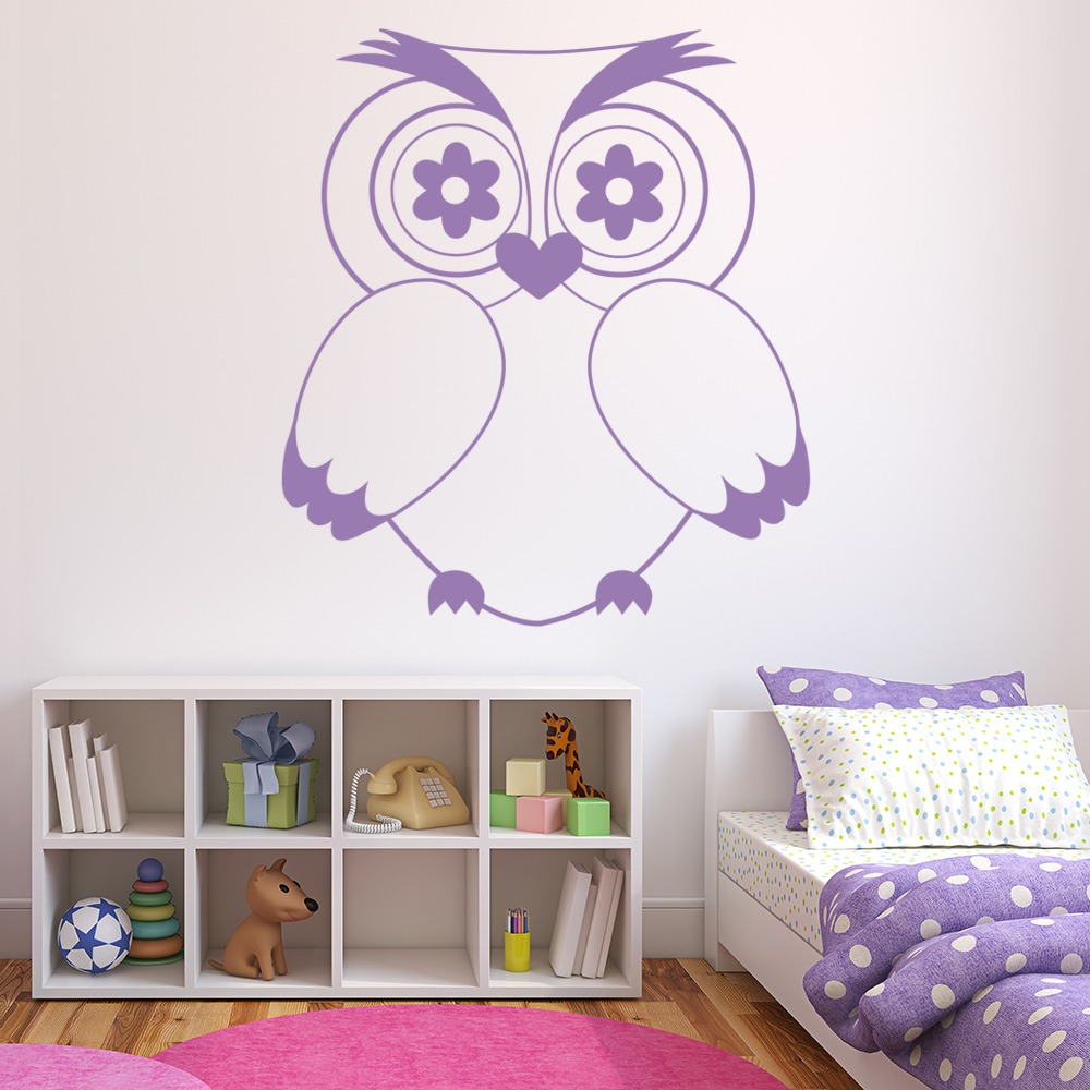 Owl Love Heart And Flowers Birds & Feathers Wall Stickers Home Decor Art Decals