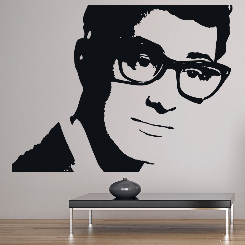 buddy holly wall sticker rock music wall decal icon. Black Bedroom Furniture Sets. Home Design Ideas