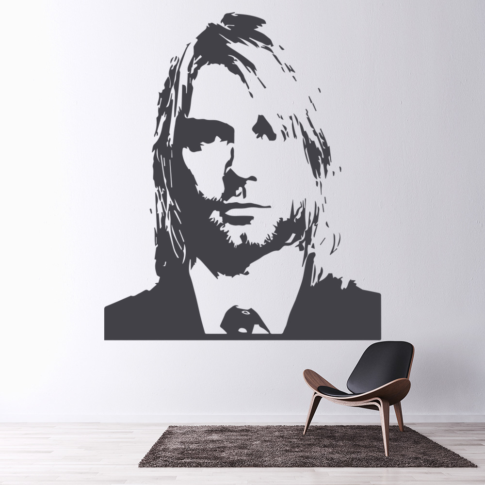 Kurt Cobain Head Profile Icons & Celebrities Wall Stickers Home Decor Art Decals