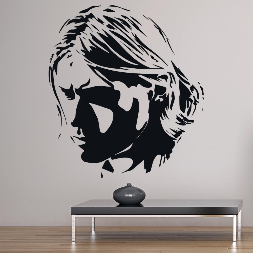 Kurt Cobain Head Portrait Icons & Celebrities Wall Sticker Home Decor Art Decals