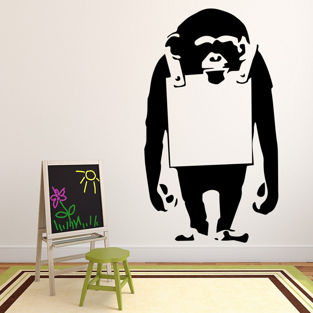 Chimp Board Banksy Style Wall Art Grafitti Wall Sticker