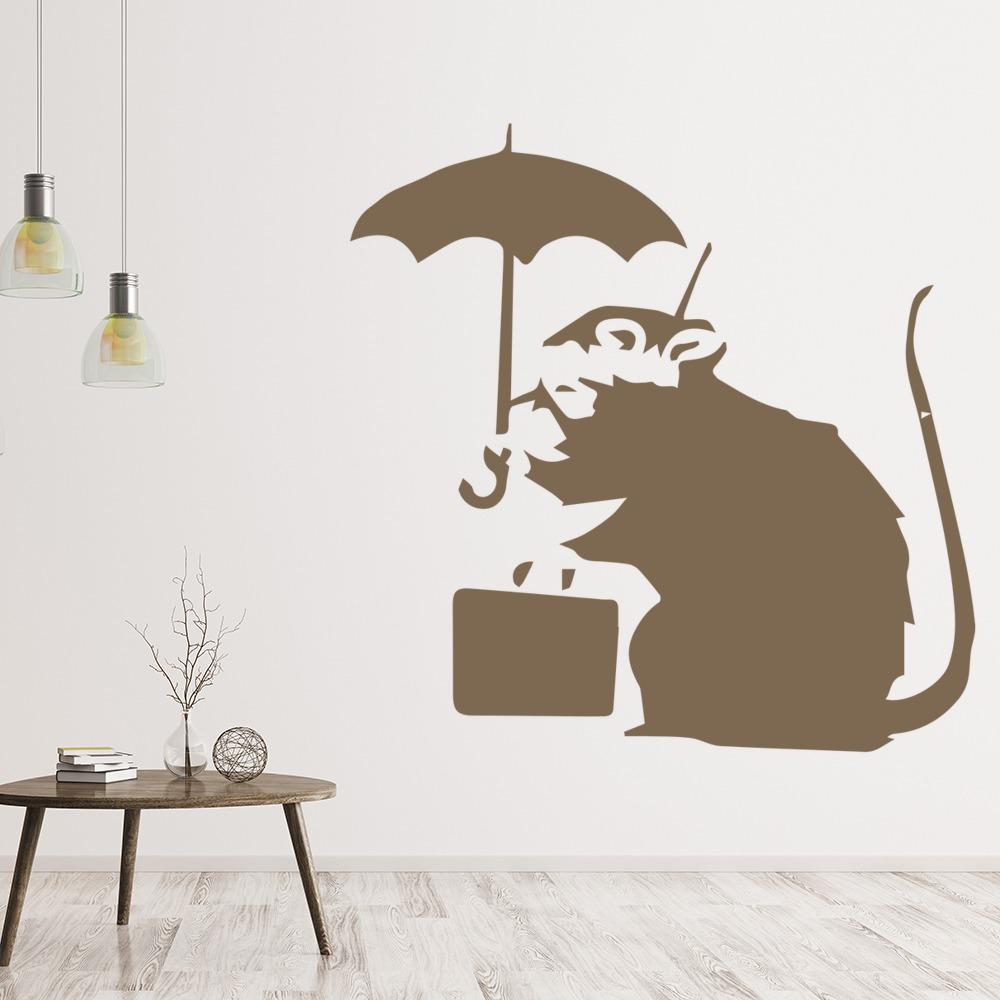 Rat Umbrella Banksy Style Wall Art Grafitti Wall Stickers