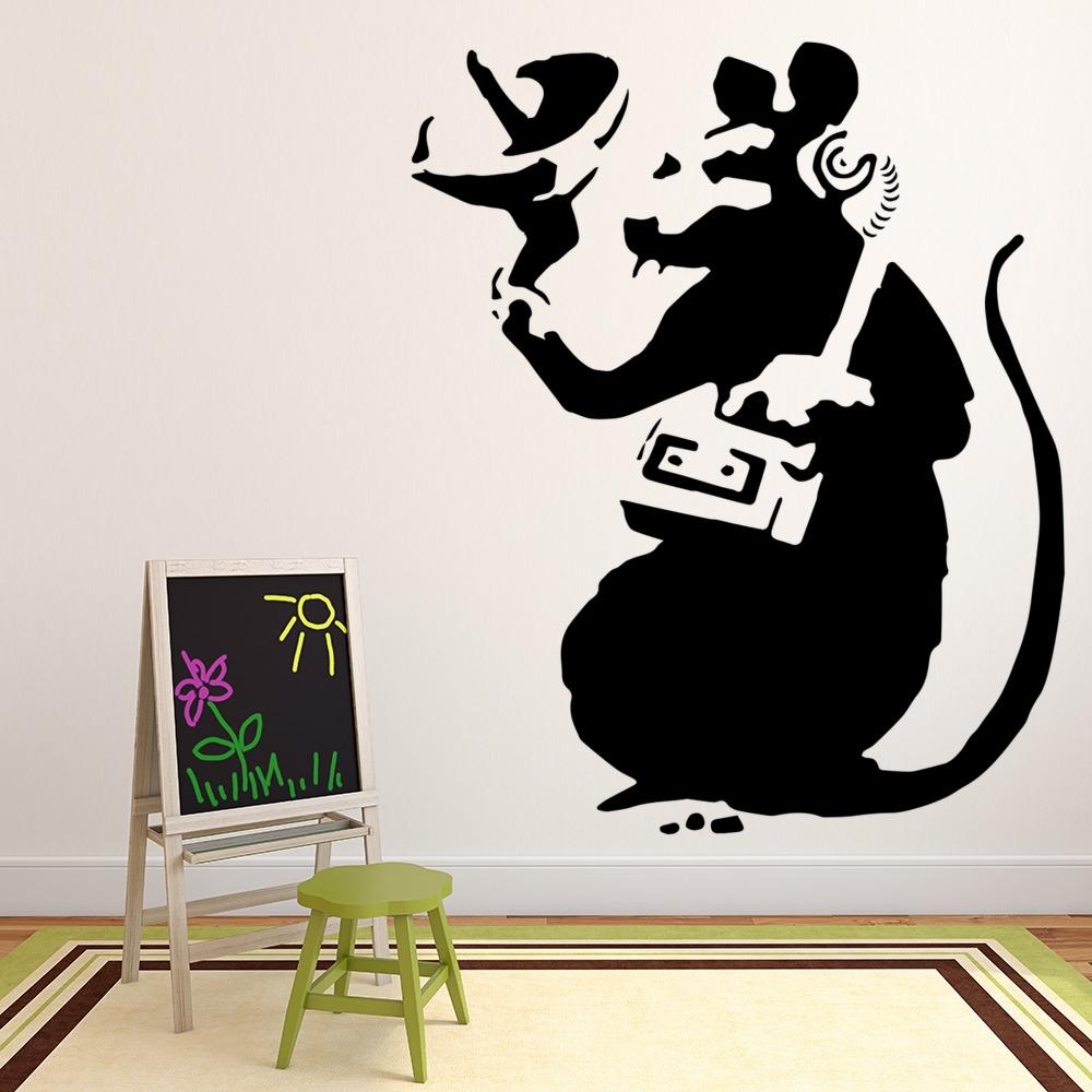 Rat Listening In Banksy Style Wall Art Grafitti Wall Stickers