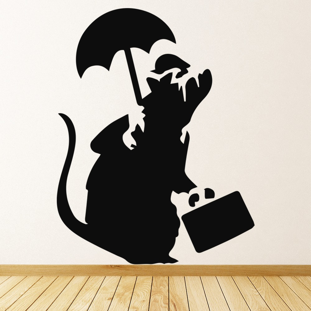 Rat With Umbrella And Suitcase Banksy Style Wall Art Grafitti Wall Stickers