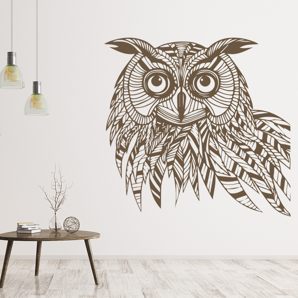 Striped Owl Head Profile Birds & Feathers Wall Stickers Home Decor Art Decals