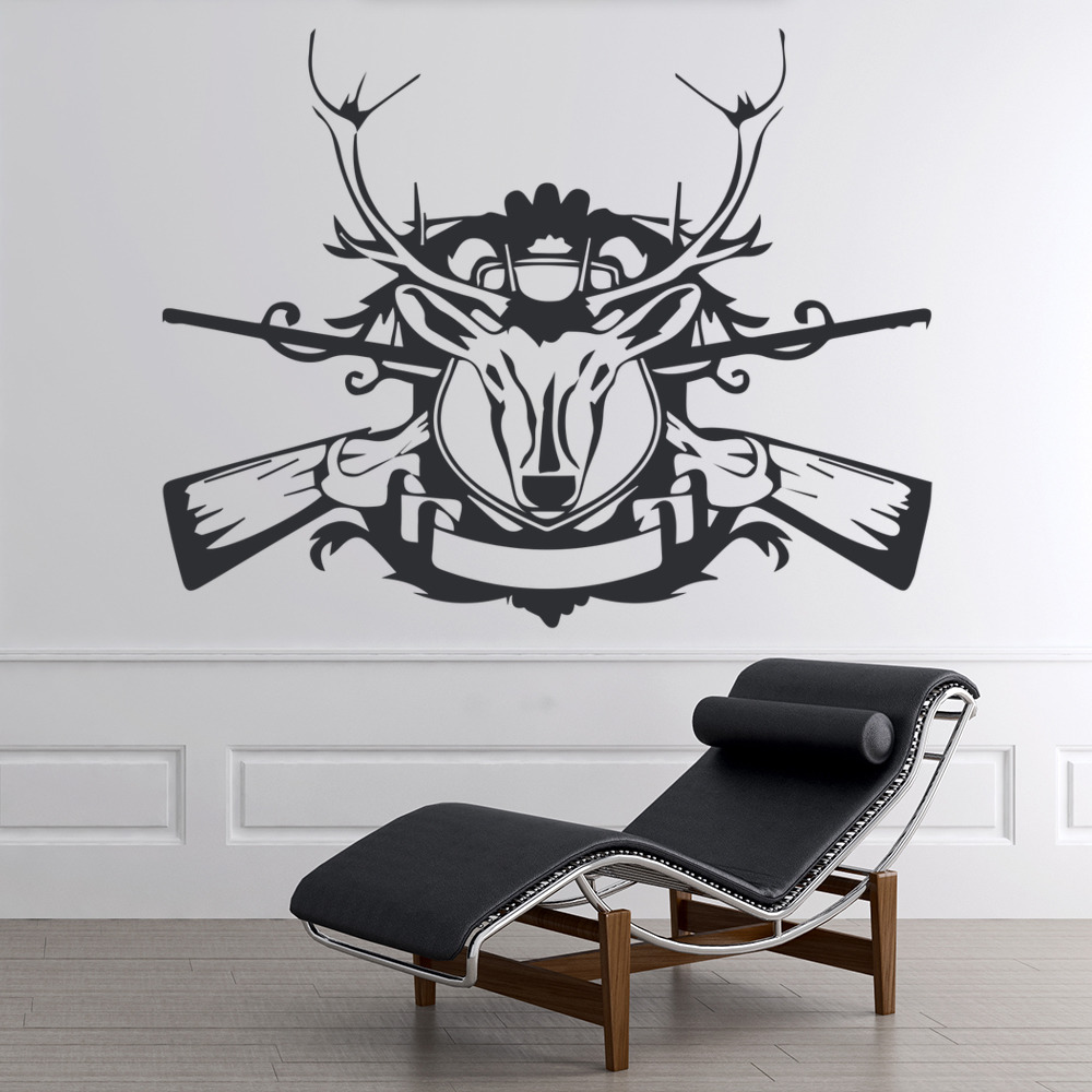 Deer Head With Rifles On Shield Wild Animals Wall Stickers Home Decor Art Decals