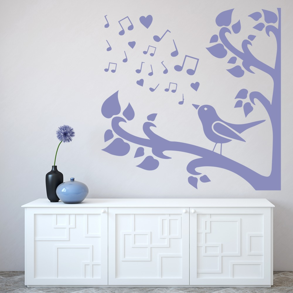 Singing Bird In Tree Silhouette Birds & Feathers Wall Stickers Home Art Decals