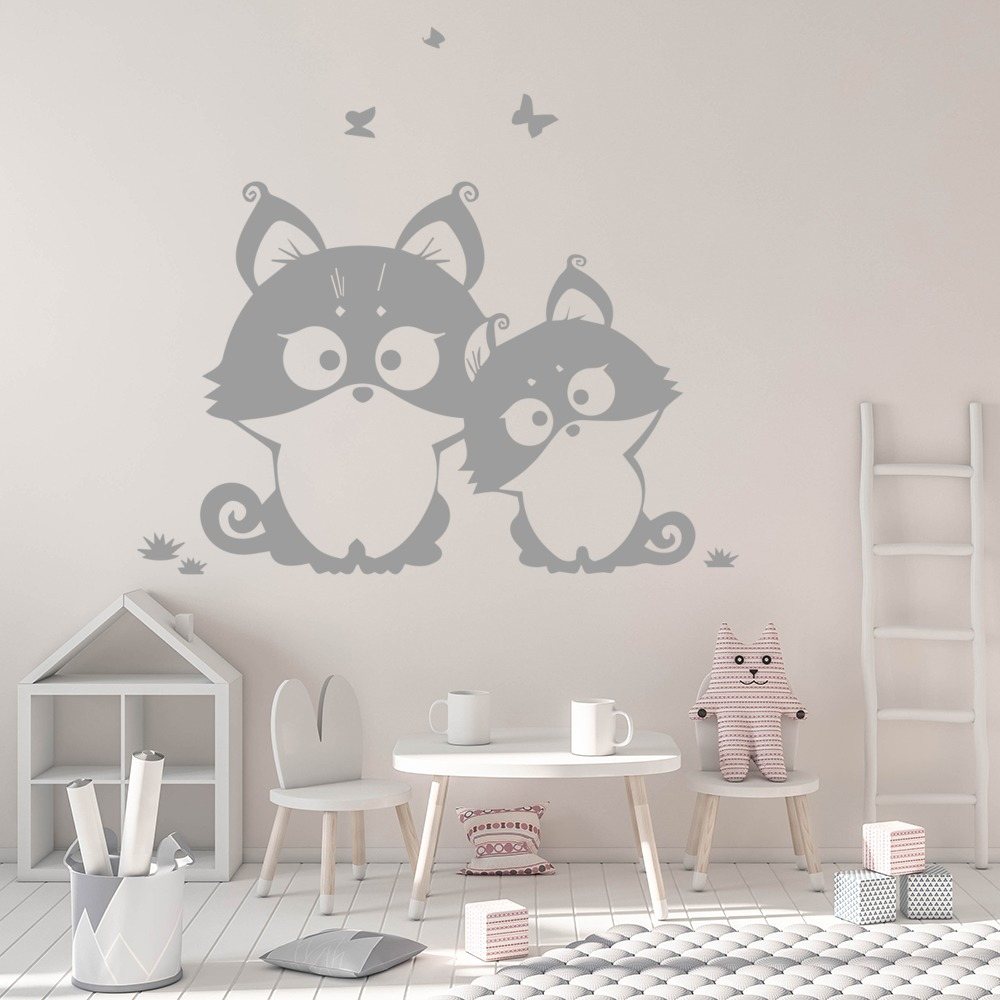 Cute Kittens Cartoon Feline House Cats Wall Stickers Pets Home Decor Art Decals