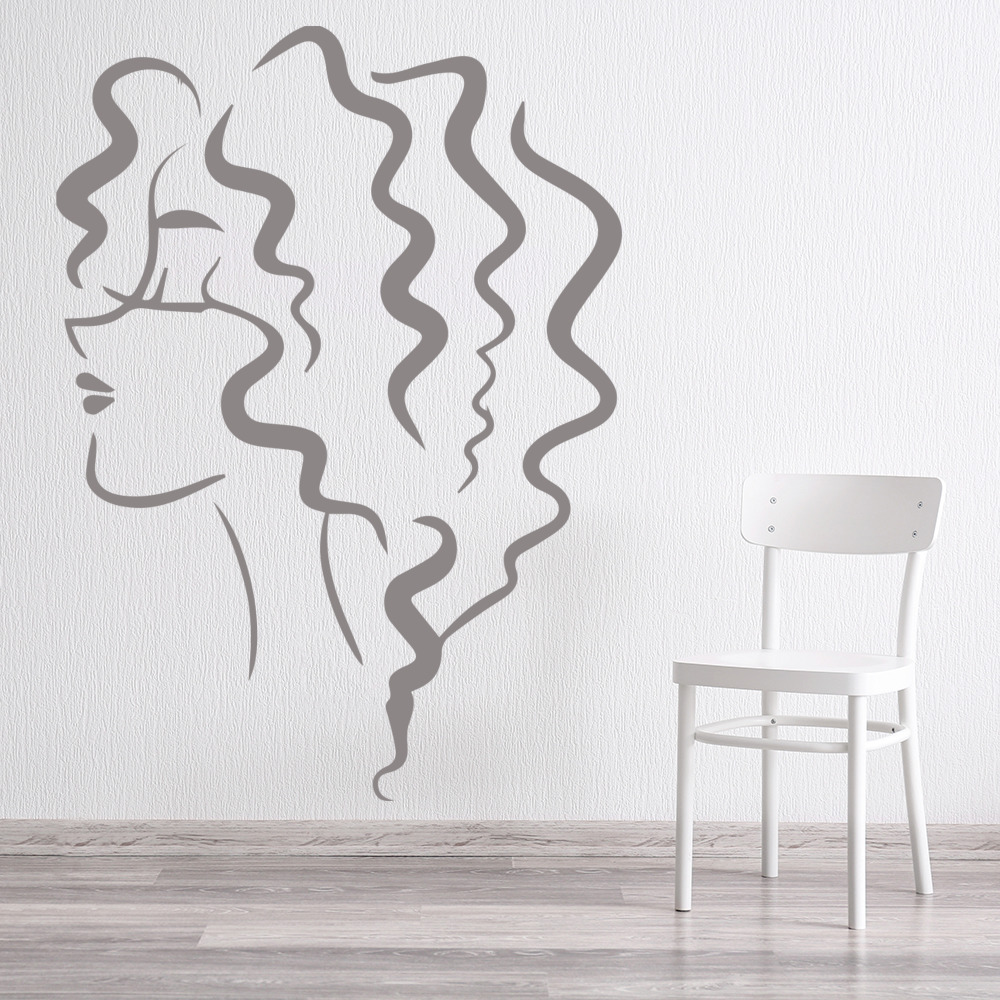 Loose Curls Lady Decorative People And Faces Wall Stickers Home Decor Art Decals