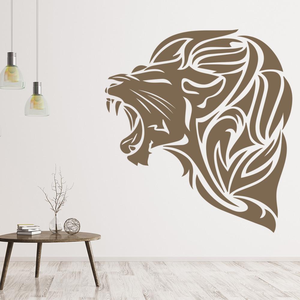Roaring Lion Head Wall Sticker Animal Wall Art