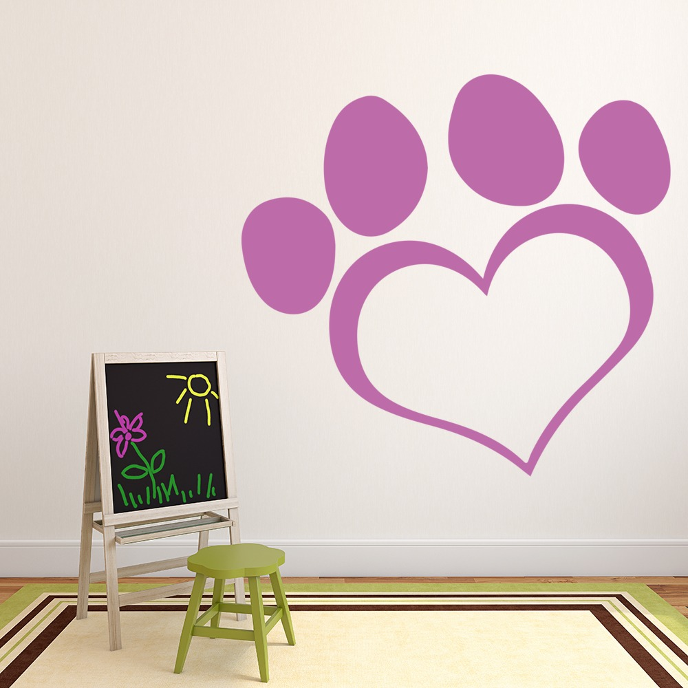 Heart Paw Print Canine Canine Pet Dogs Wall Stickers Home Decor Art Decals