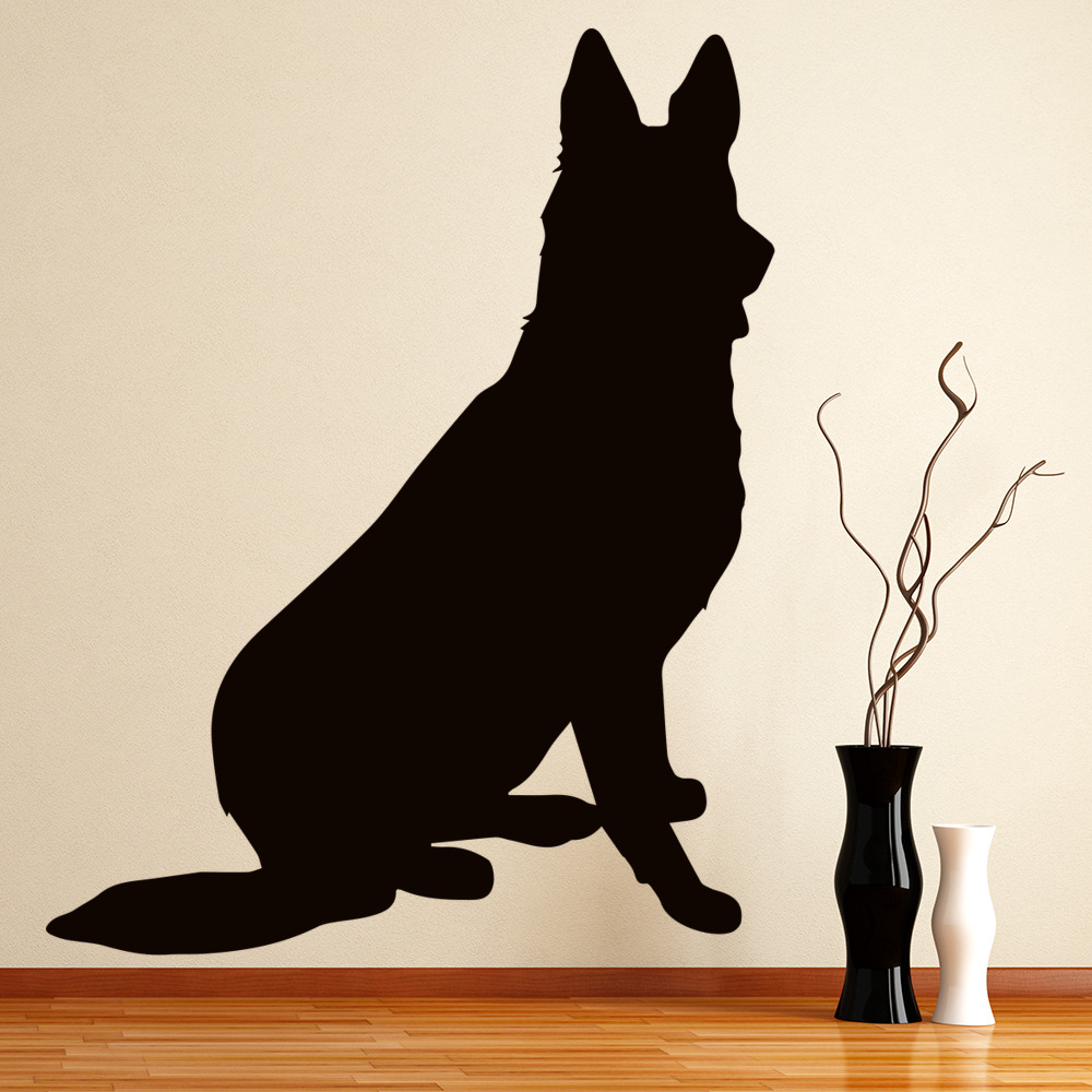 German Shepherd Silhouette Canine Pet Dogs Wall Stickers Home Decor Art Decals