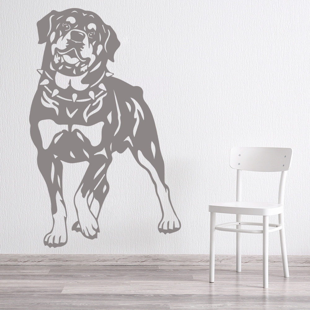 Rottweiler And Collar Portrait Canine Pet Dogs Wall Sticker Home Decor Art Decal