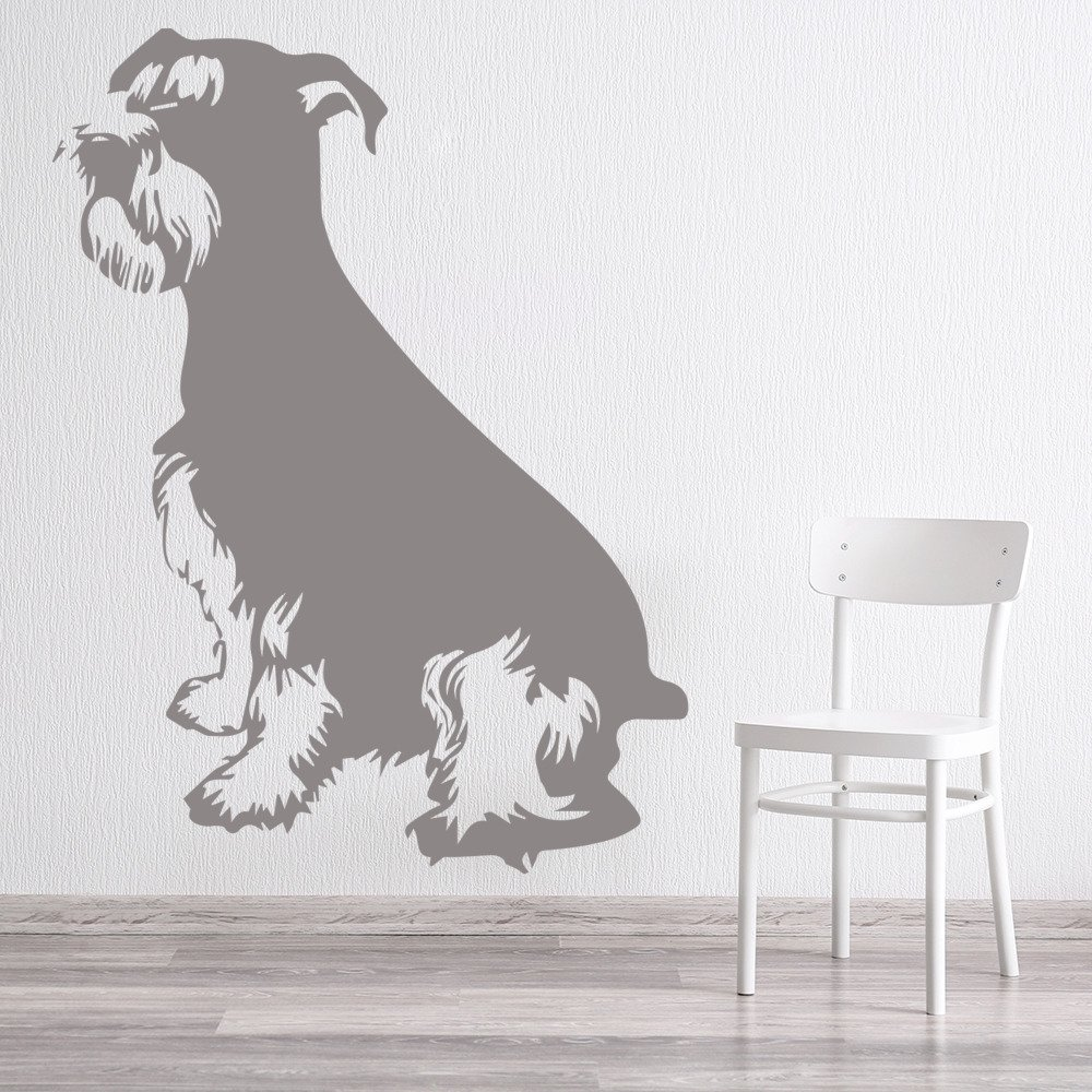Schnauzer Sitting Profile Canine Pet Dogs Wall Stickers Home Decor Art Decals