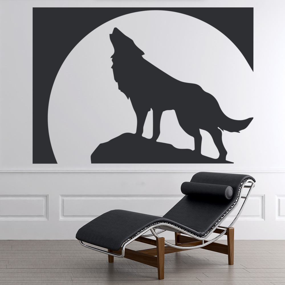 full moon wolf wall sticker animal wall art. Black Bedroom Furniture Sets. Home Design Ideas