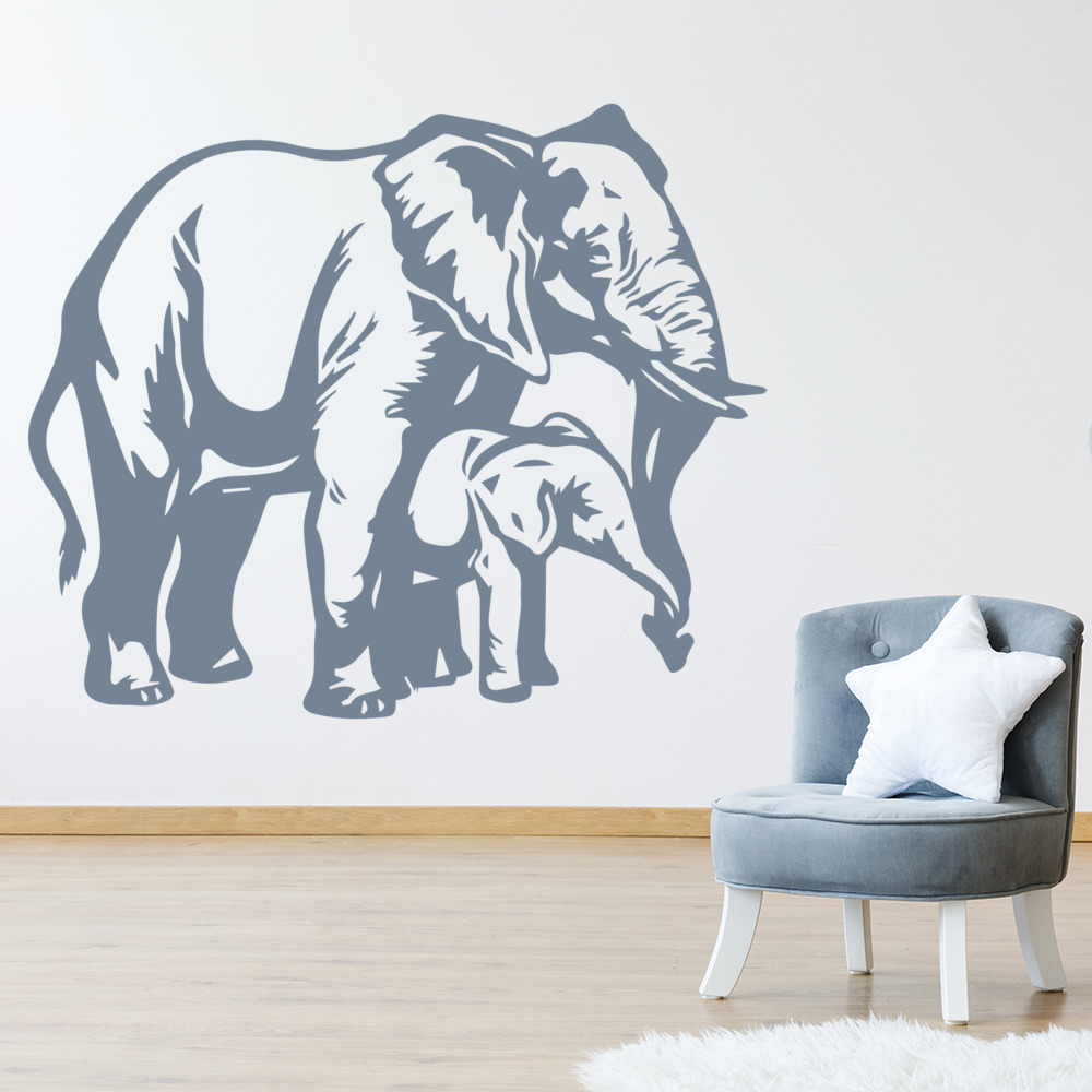 Mother And Baby Elephant Calf Wild Animals Wall Stickers Home Decor Art Decals