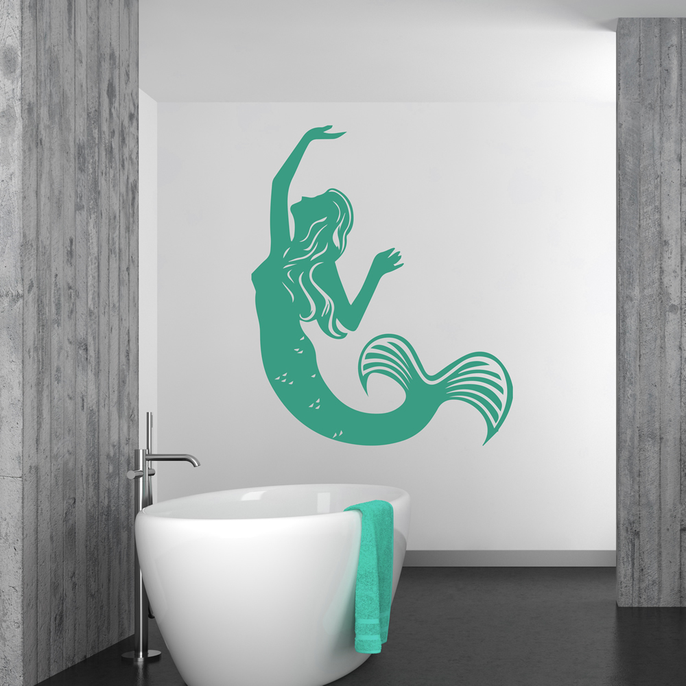 Swimming Mermaid Wall Sticker Mythical Wall Art