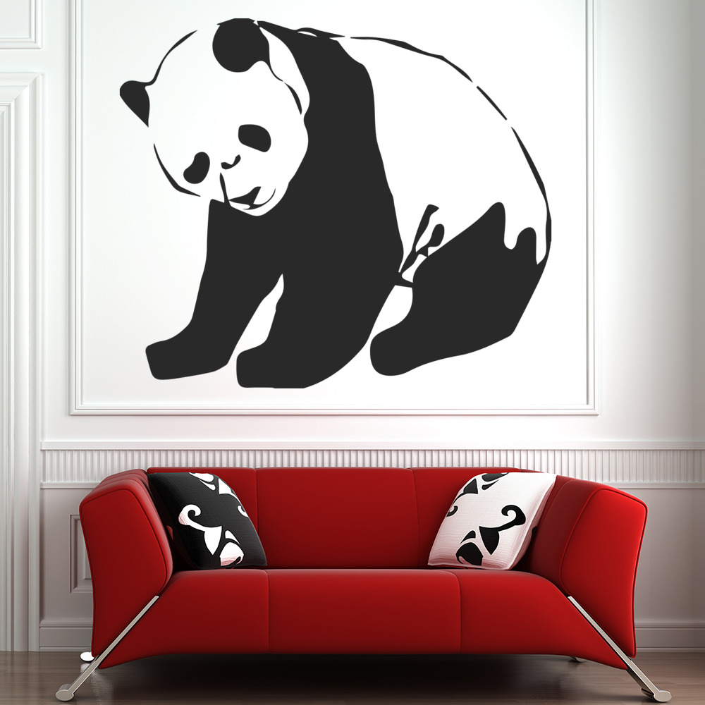 panda wall sticker animal wall art super cute little pandas 1 set switch lights removable