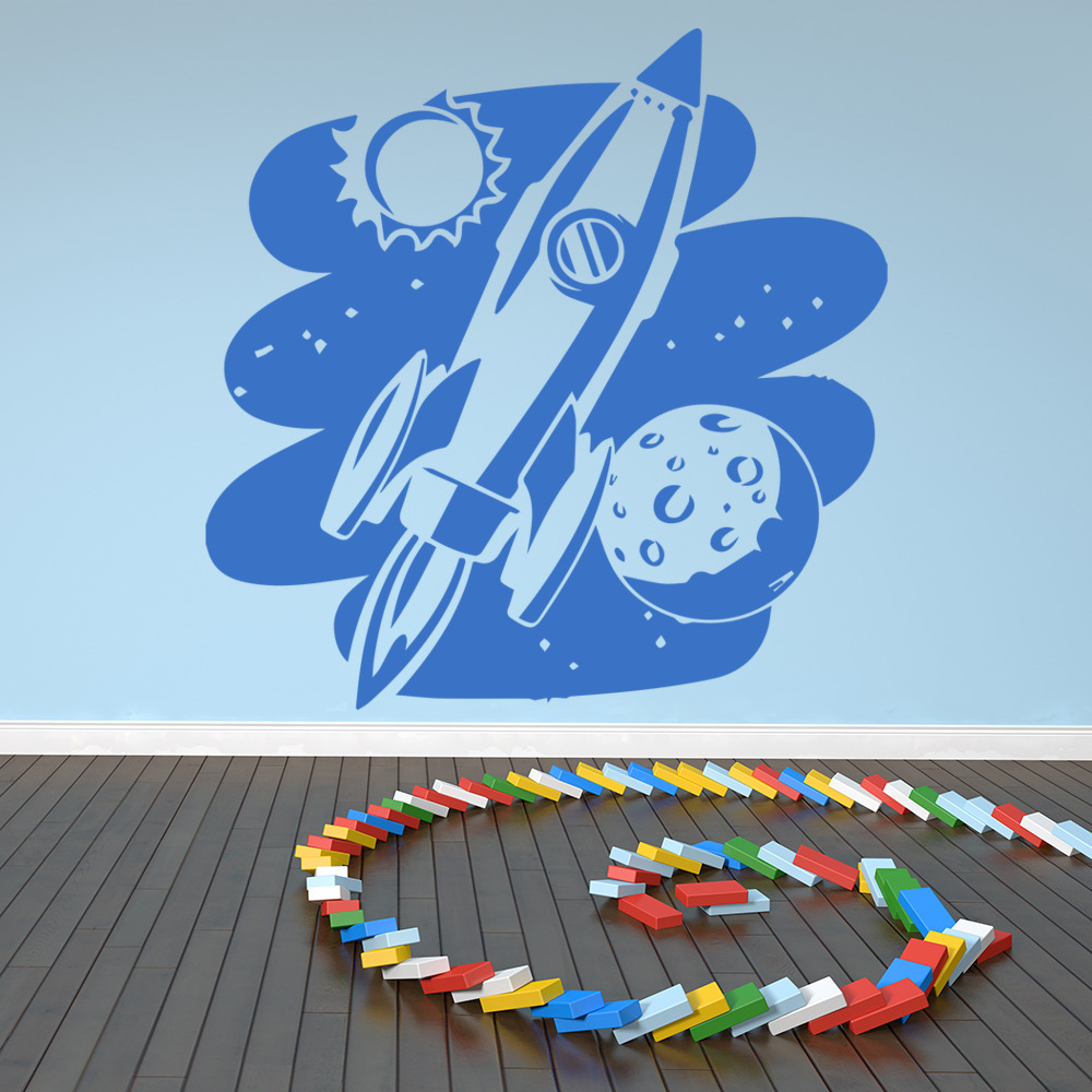 Flying Rocket Outer Space Planets And Space Wall Sticker Solar System Art Decals