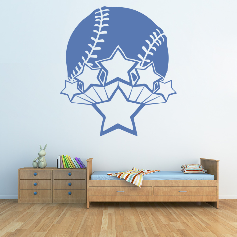 Baseball Ball Decorative Stars American Sports Wall Stickers Gym Home Art Decals