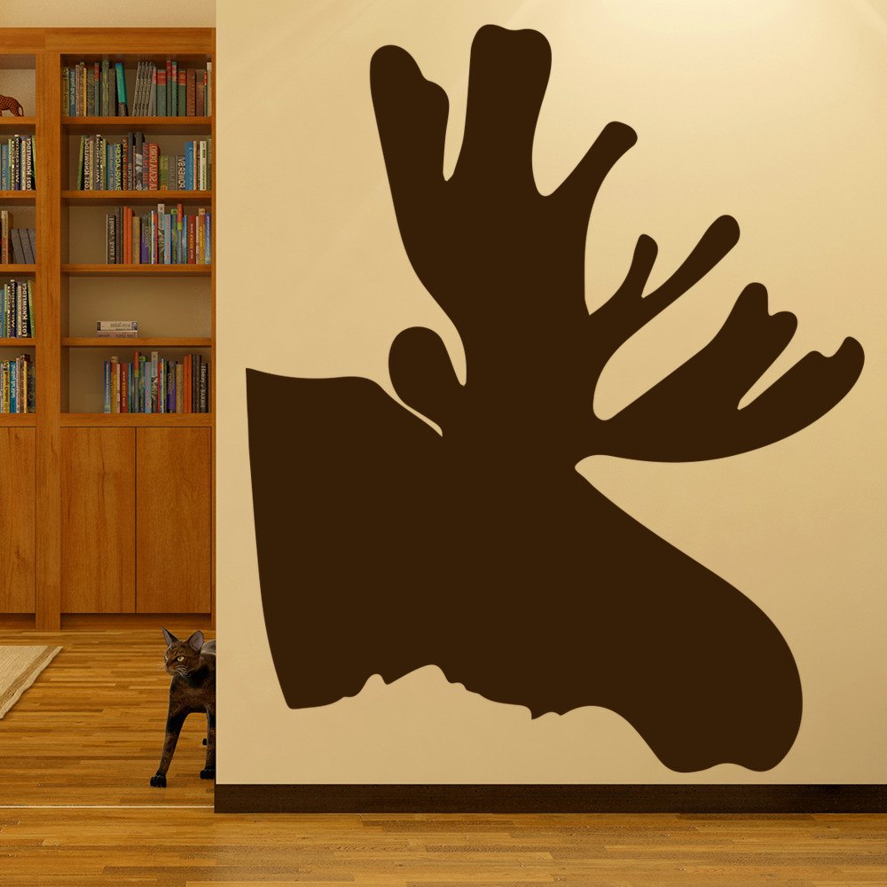 Moose Head Silhouette Antlers Wild Animals Wall Stickers Home Decor Art Decals
