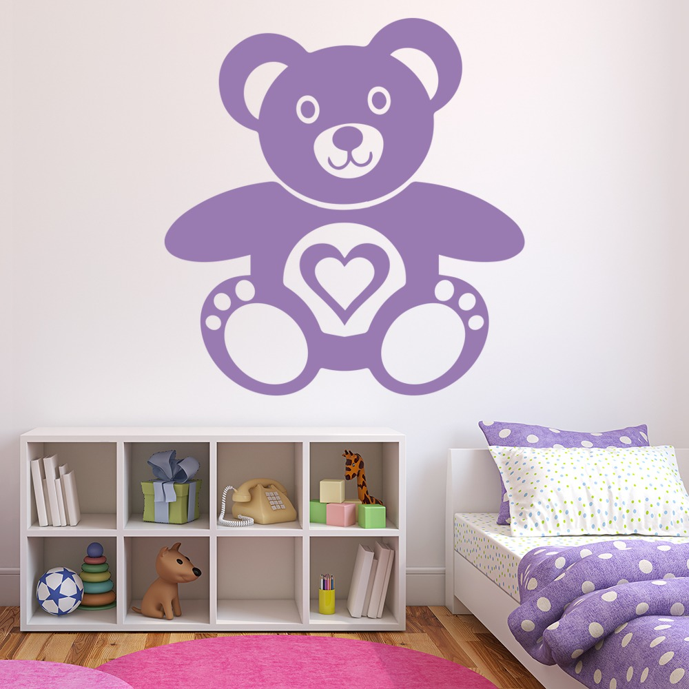 Love Heart Teddy Bear Kids Nursery & Baby Wall Stickers Home Decor Art Decals