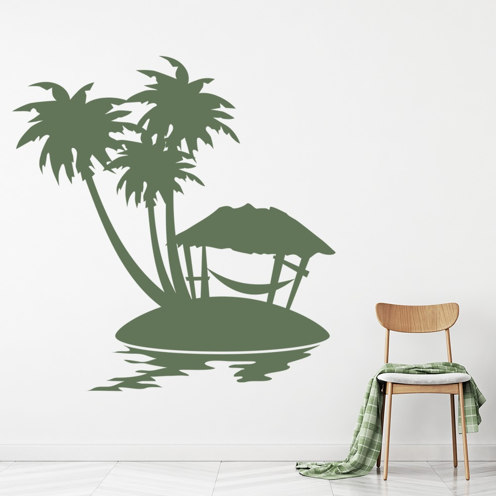 Tropical Scene Hammock Palms Flowers And Trees Wall Sticker Home Decor Art Decal
