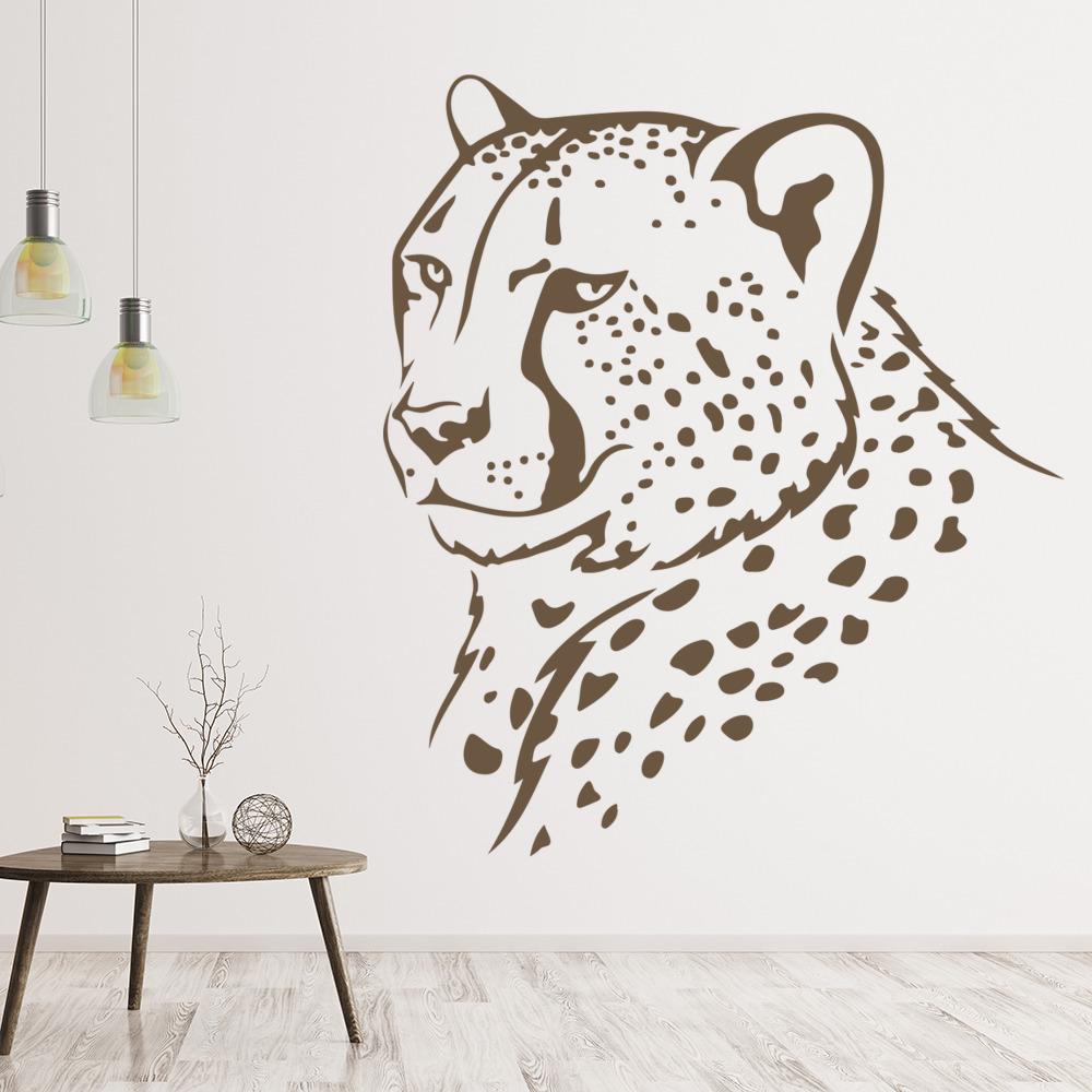 cheetah head outline wall sticker animal wall art xxl wall sticker cheetah jaguar leopard spots mural