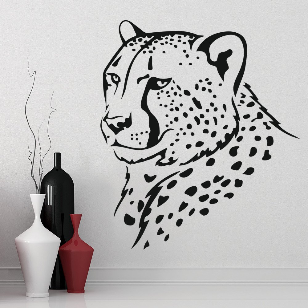 Cheetah Head Big Spotted Cat Wild Animals Wall Stickers Home Decor Art Decals