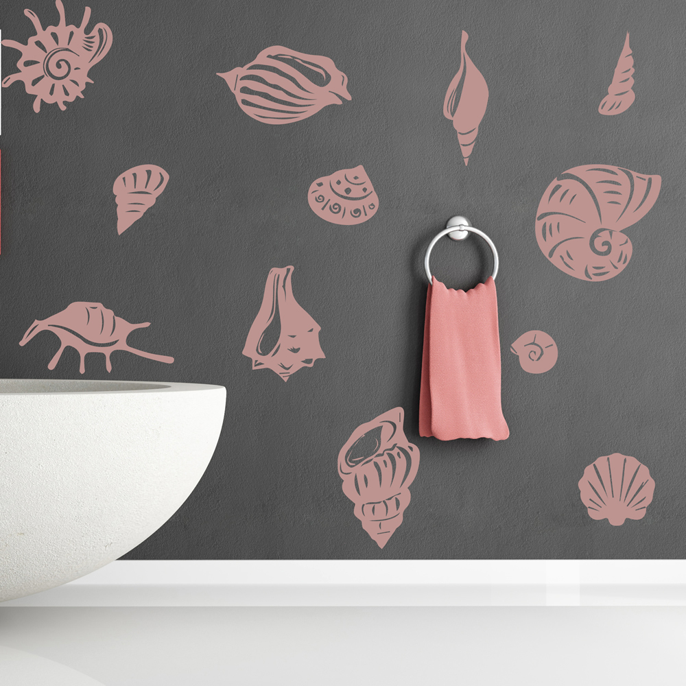 sea shell set wall stickers beach wall art bathroom wall decals wall decal seashell design