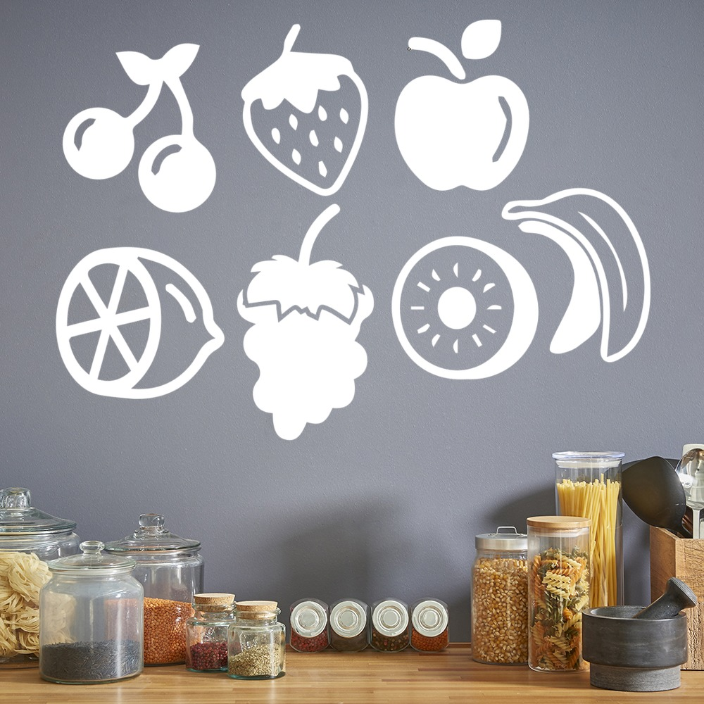 Fruit Icon Set Wall Stickers Food Wall Art