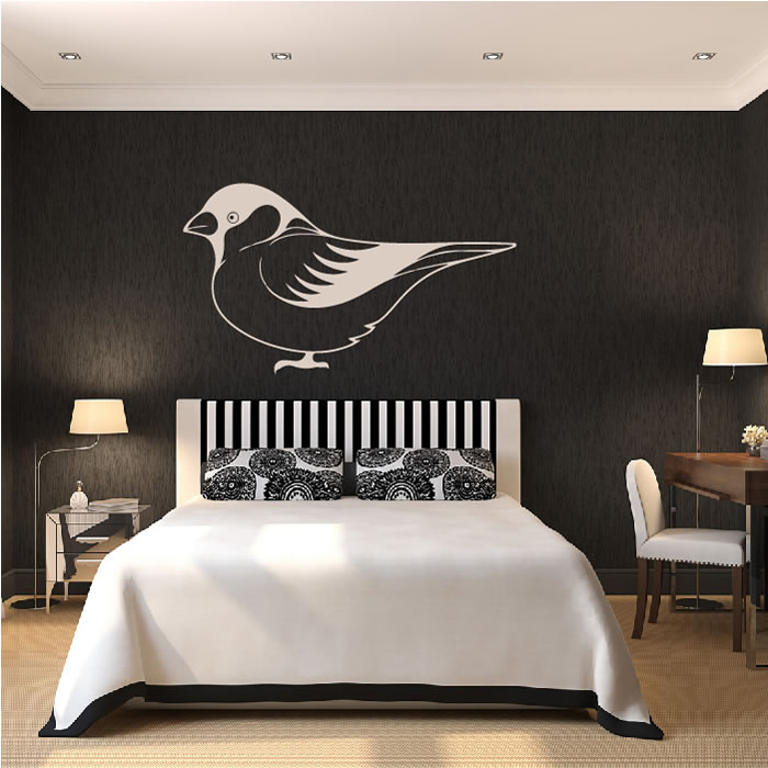 Single Sparrow Shadowed Outline Birds & Feathers Wall Stickers Home Art Decals