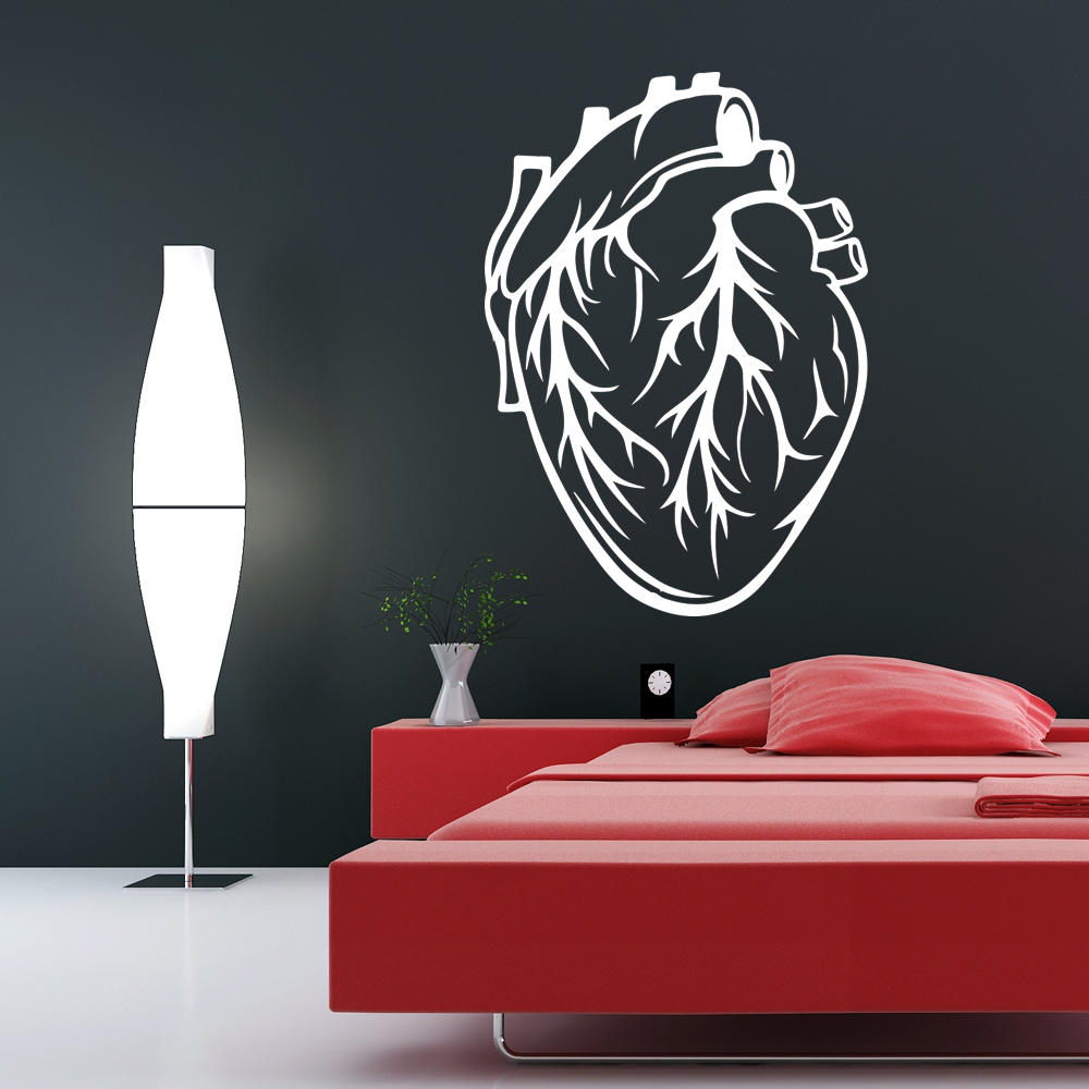 Human Heart Science Biology Educational Wall Sticker School Classroom Art Decals