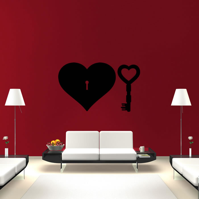 Love Heart And Key Wall Sticker Love Wall Art
