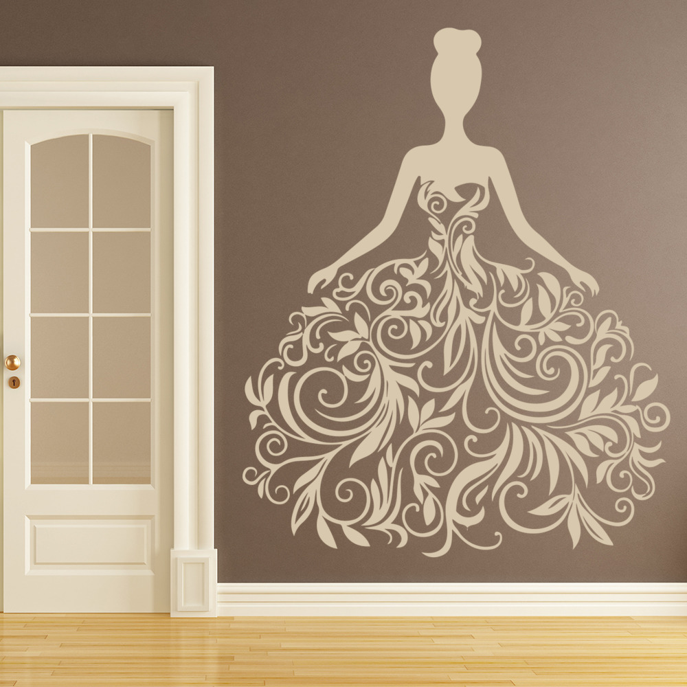 Floral Wedding Dress Wall Sticker Decorative Wall Art