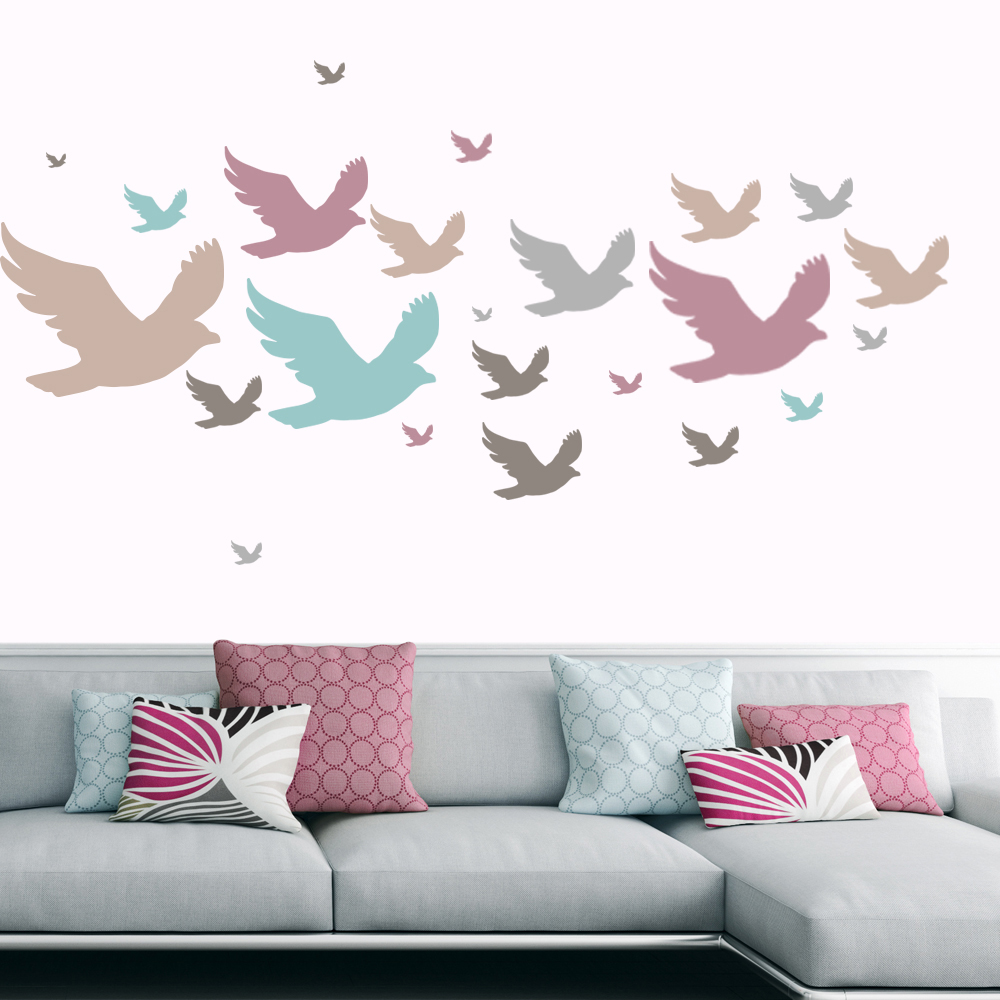 Seagull Birds & Feathers Creative Multipack Wall Stickers Home Decor Art Decals
