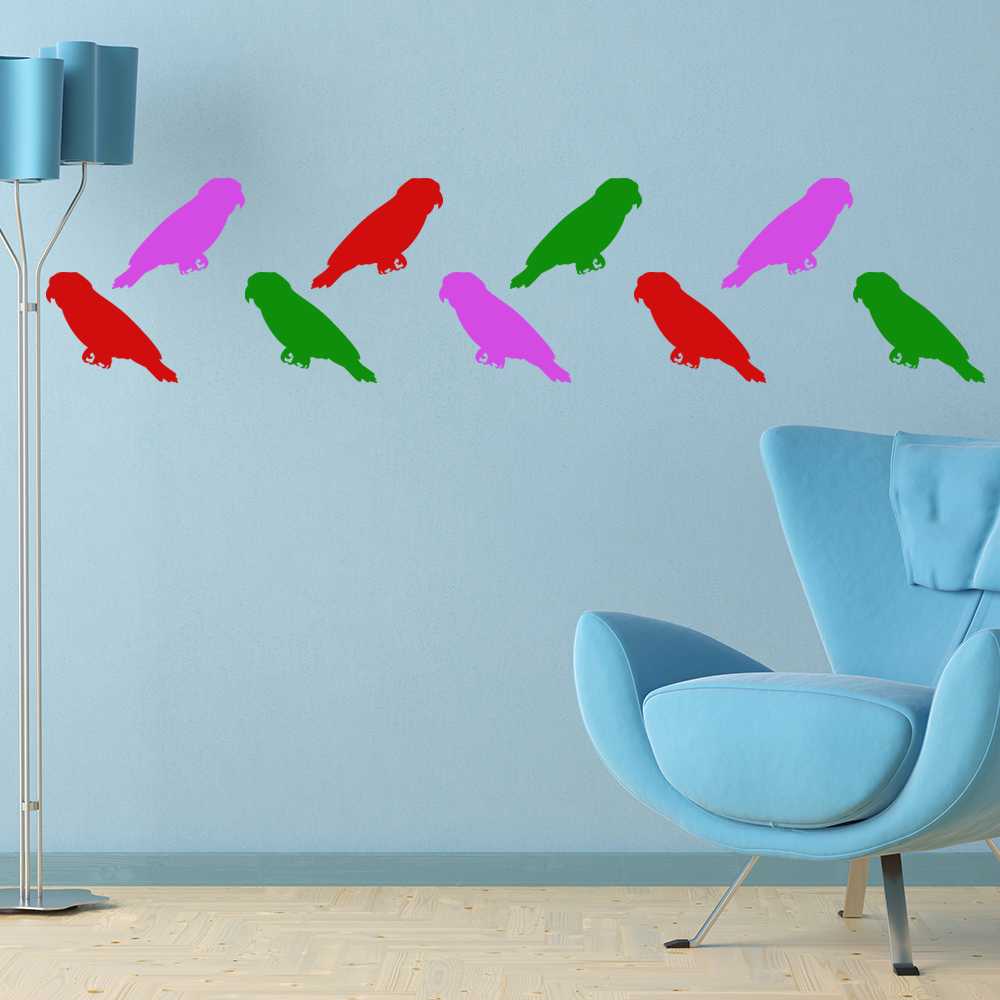 Parrot Birds & Feathers Creative Multipack Wall Stickers Home Decor Art Decals