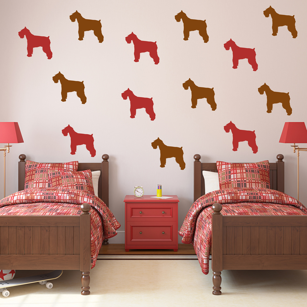 Schnauzer Silhouette Dogs Creative Multipack Wall Stickers Home Decor Art Decals