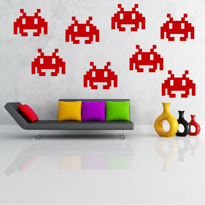 Small Space Invader Gaming & Entertainment Creative Multipack Wall Stickers