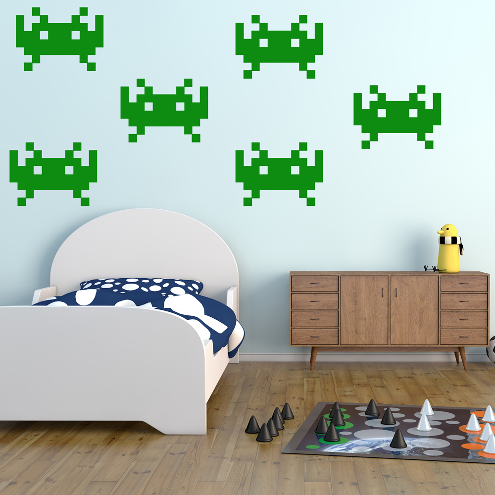 Medium Space Invaders Gaming & Entertainment Creative Multipack Wall Stickers