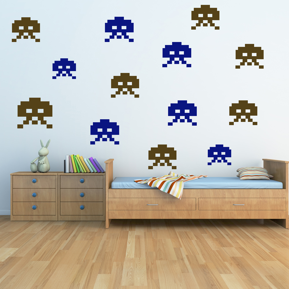 Space invaders skull wall sticker creative multi pack wall decal art - Space invader wall stickers ...