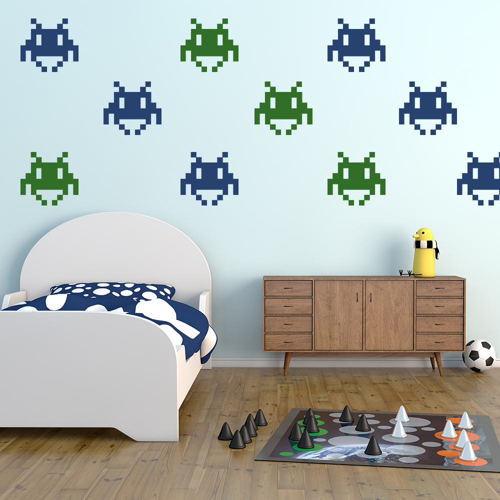 Small space invader wall sticker creative multi pack wall decal art - Space invader wall stickers ...